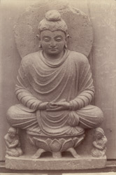 Statue of a Buddha seated on a lotus throne, Swat Valley